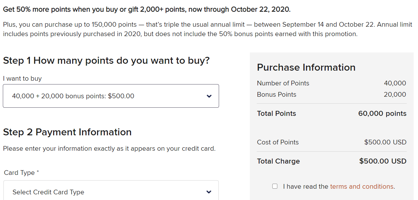 Buy 60,000 Marriott points for just $500