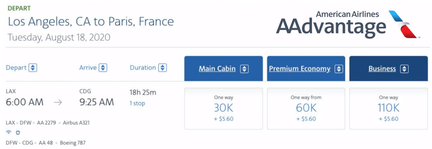 Economy Saver to Europe with 30,000 Airline miles