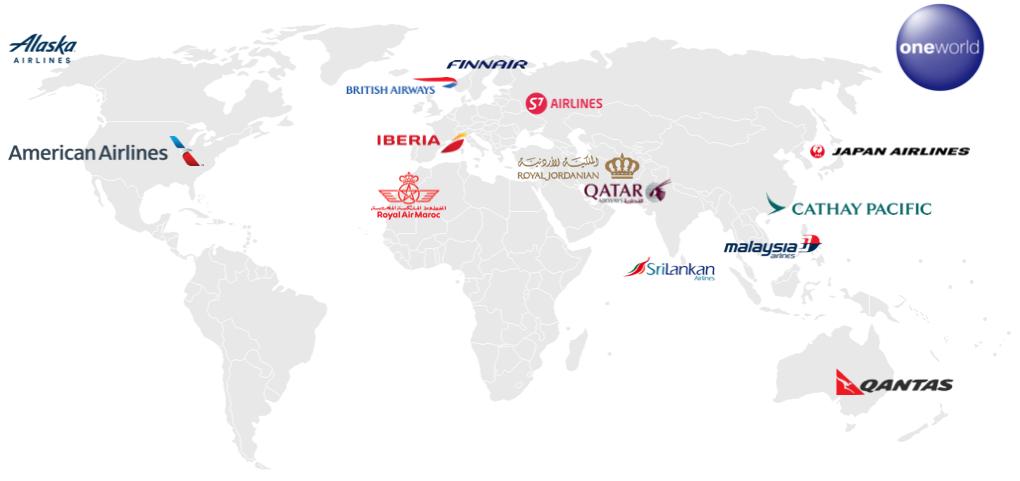 oneworld alliance airline map