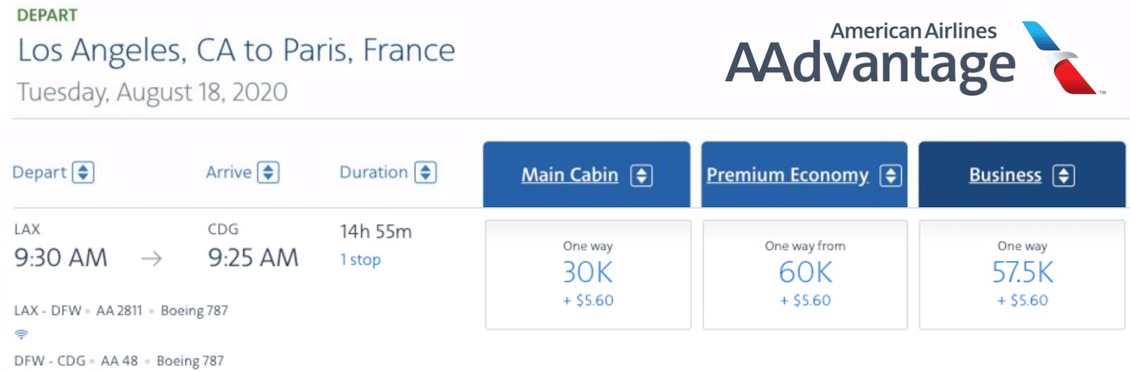 Business saver award for 57,500 flight miles