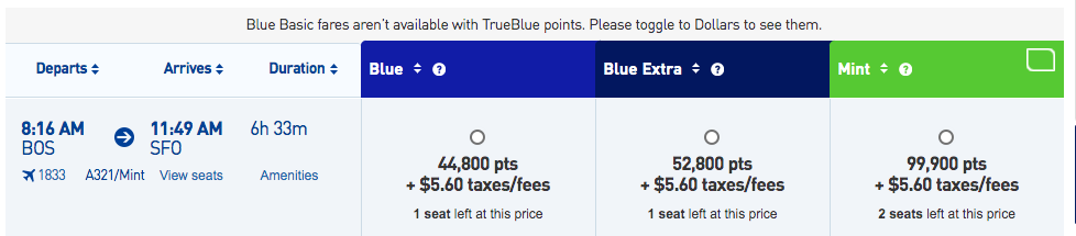 JetBlue BOS-SFO points search results