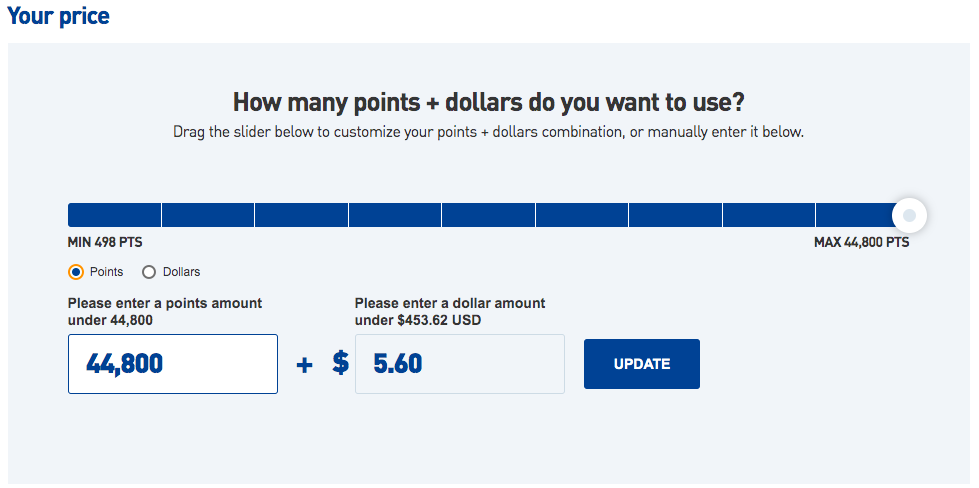 JetBlue Points + Dollars redemption using 44,800 points and $5.60 cash