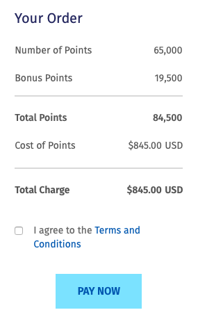 Buy Wyndham points: 84,500 points for $845