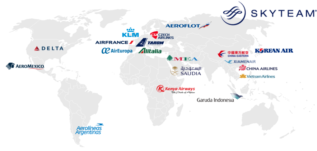 skyteam alliance airline map