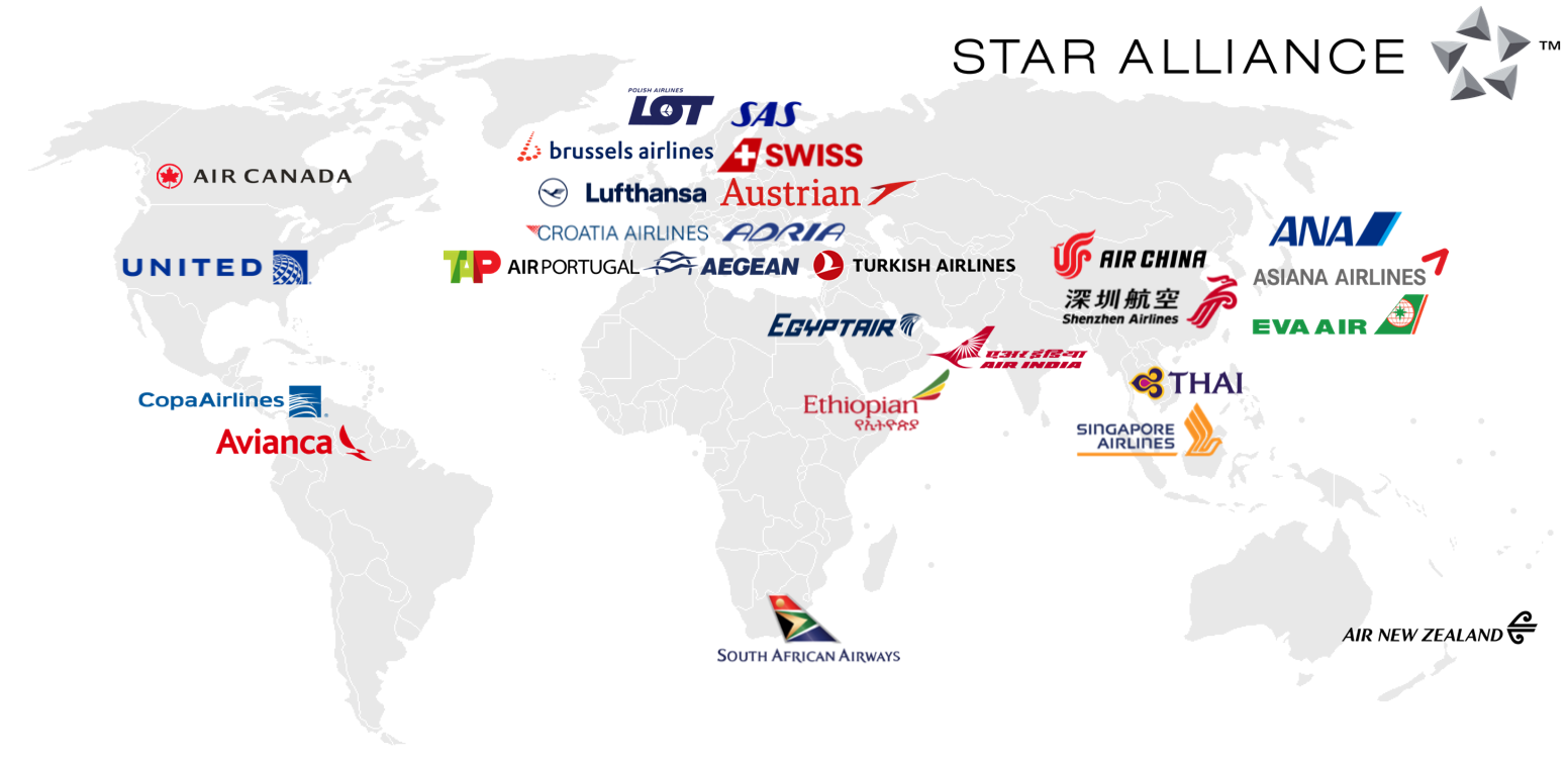 Star Alliance airline map
