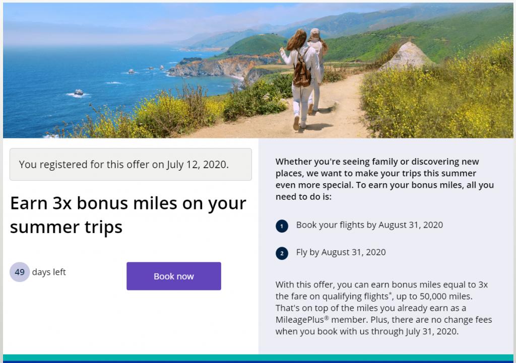 United 3X bonus Miles Info