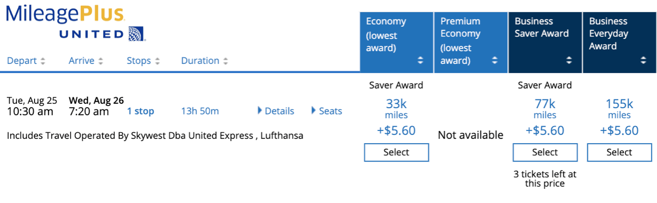 saver and standard awards with MileagePlus airline miles