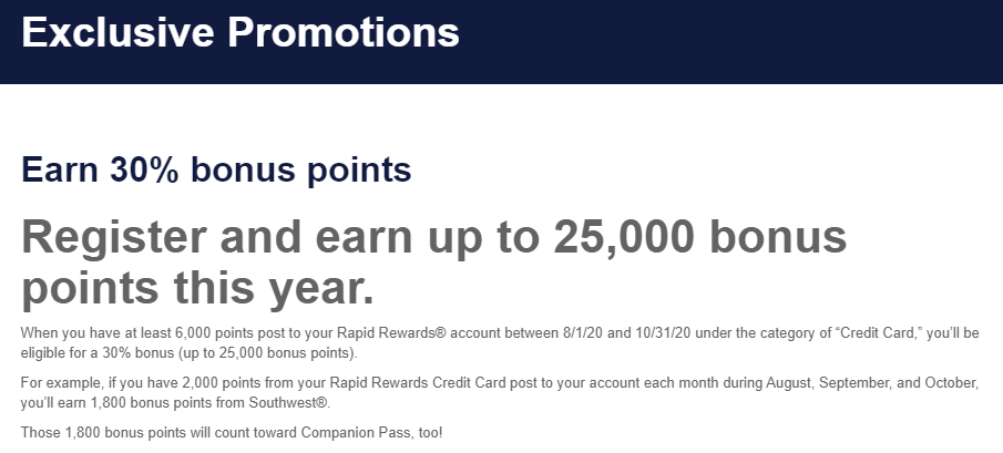 Screenshot of Southwest 30% bonus points promotion page