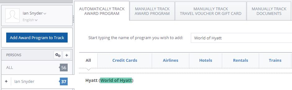 Track Hyatt Rewards in AwardWallet