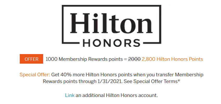 Amex to Hilton 40% Transfer Bonus
