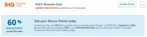Chase Ultimate Rewards transfer bonus to IHG Rewards with a 60% bonus