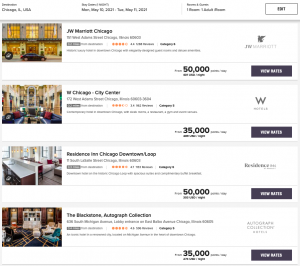 Select the property that you want to use your Marriott free night certificate