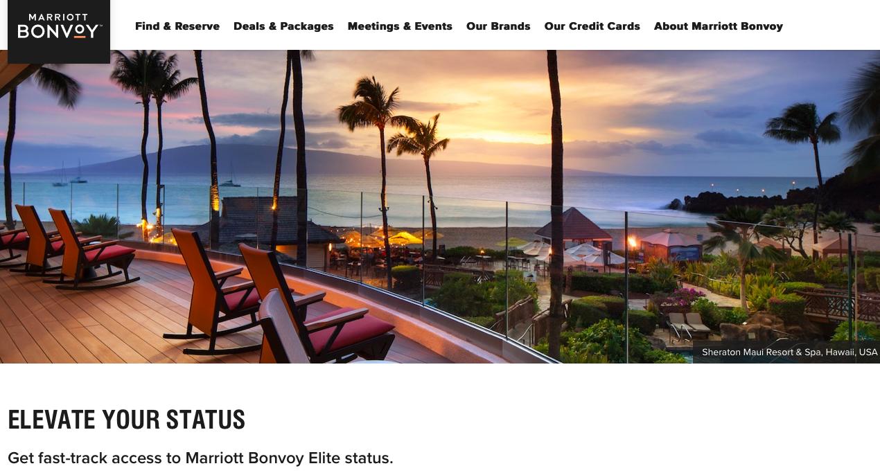 Marriott elevate your status promotion