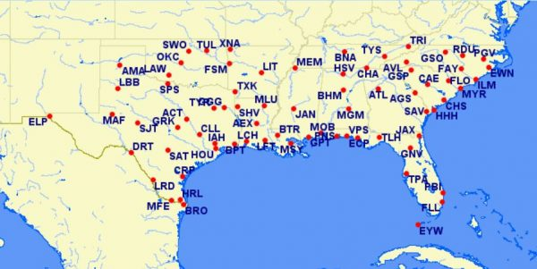 aa reduced mileage awards - southeastern US - September