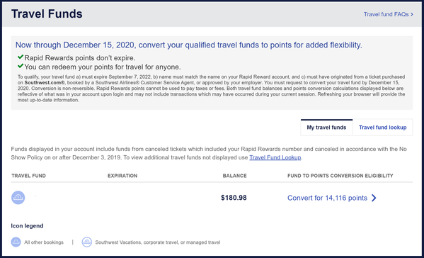 Convert $180.98 in Southwest travel funds to 14,116 Rapid Rewards points