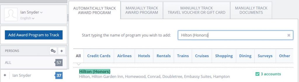 Add Hilton Honors to AwardWallet