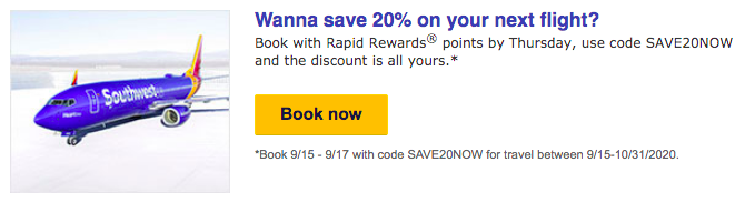 Save 20% on award flights using the Southwest promo code SAVE20NOW