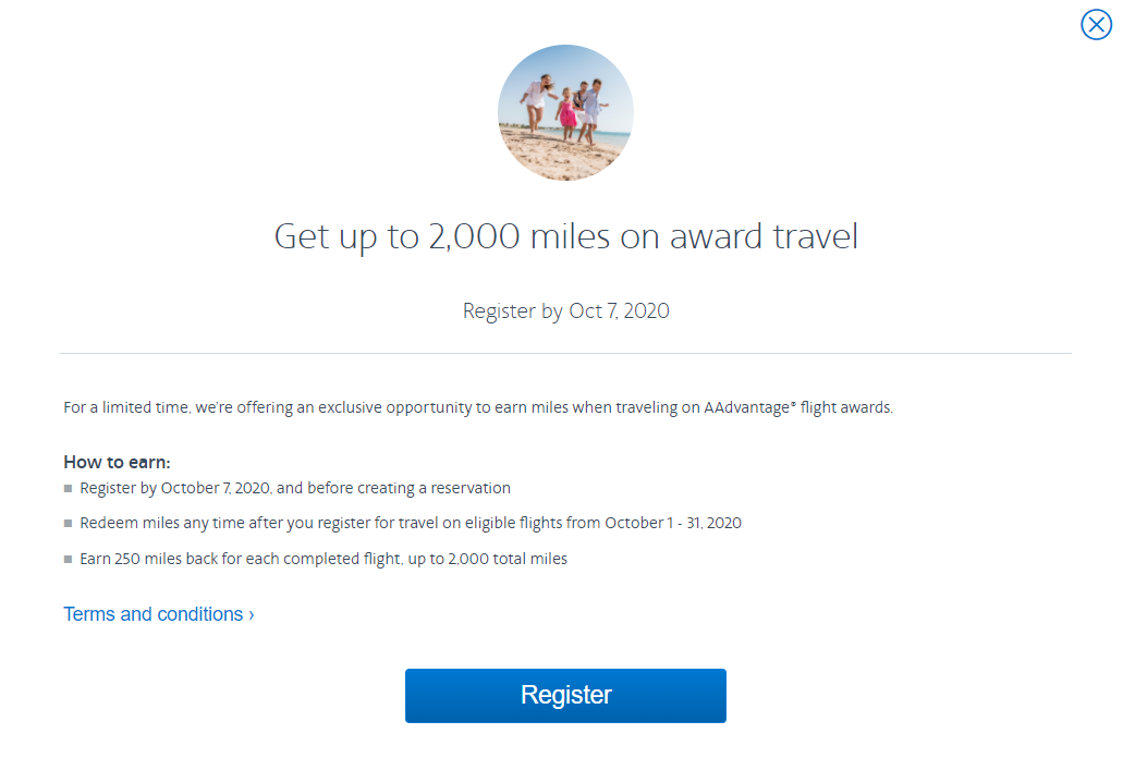 Earn up to 2,000 bonus AAdvantage miles from award travel through this promotion