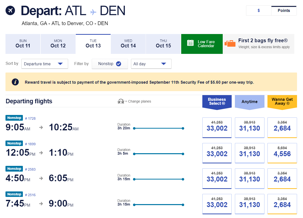 Flights from Atlanta to Denver with the Southwest promo code SAVE20NOW applied