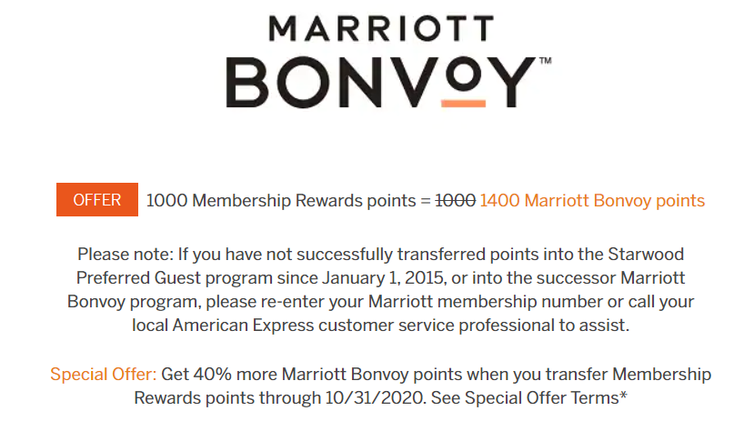 Marriott Transfer Bonus from Membership Rewards