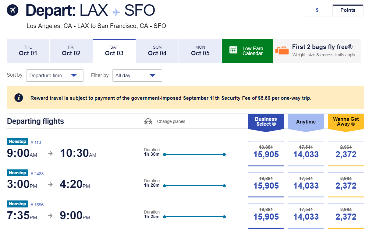 Flights from Los Angeles to San Francisco with the Southwest promo code SAVE20NOW applied