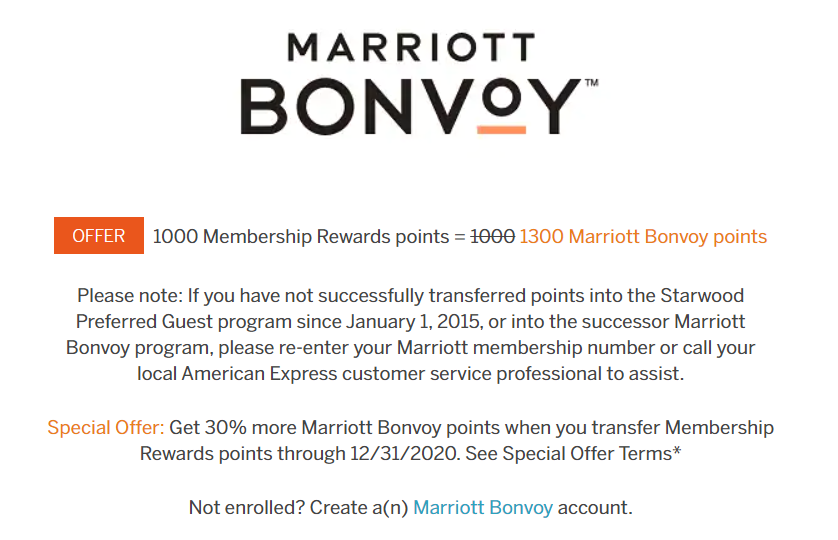 transfer Membership Rewards to Marriott Bonvoy with a 30% bonus