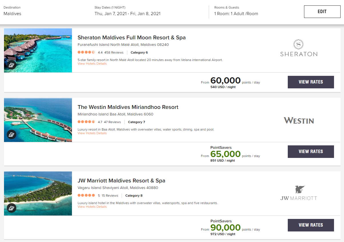Use the Marriott transfer bonus to book a stay in the Maldives