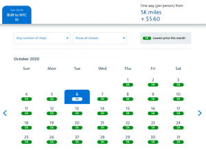 American Airlines AAdvantage Web Special awards 5,000 miles Burbank to New York City