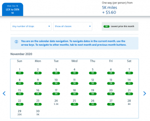 American Airlines AAdvantage Web Special awards 5,000 miles Lexington to Denver
