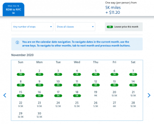 American Airlines AAdvantage Web Special awards 5,000 miles Redmond to New York City