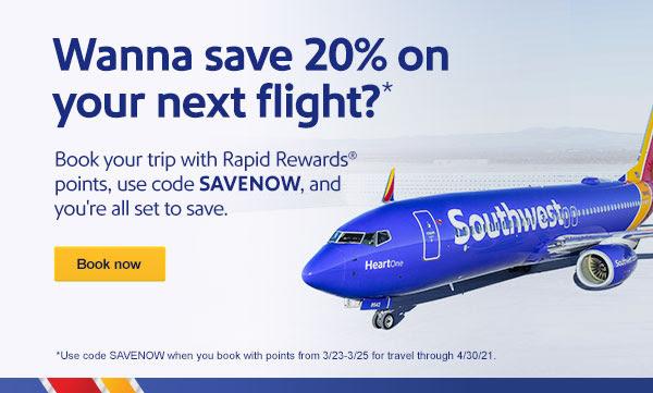 Save 20% on award flights using the Southwest promo code SAVENOW