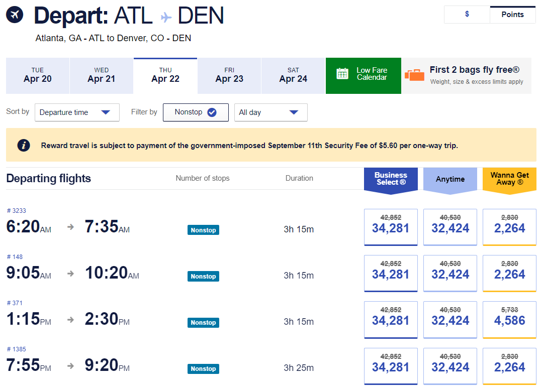 Flights from Atlanta to Denver with the Southwest promo code SAVENOW applied