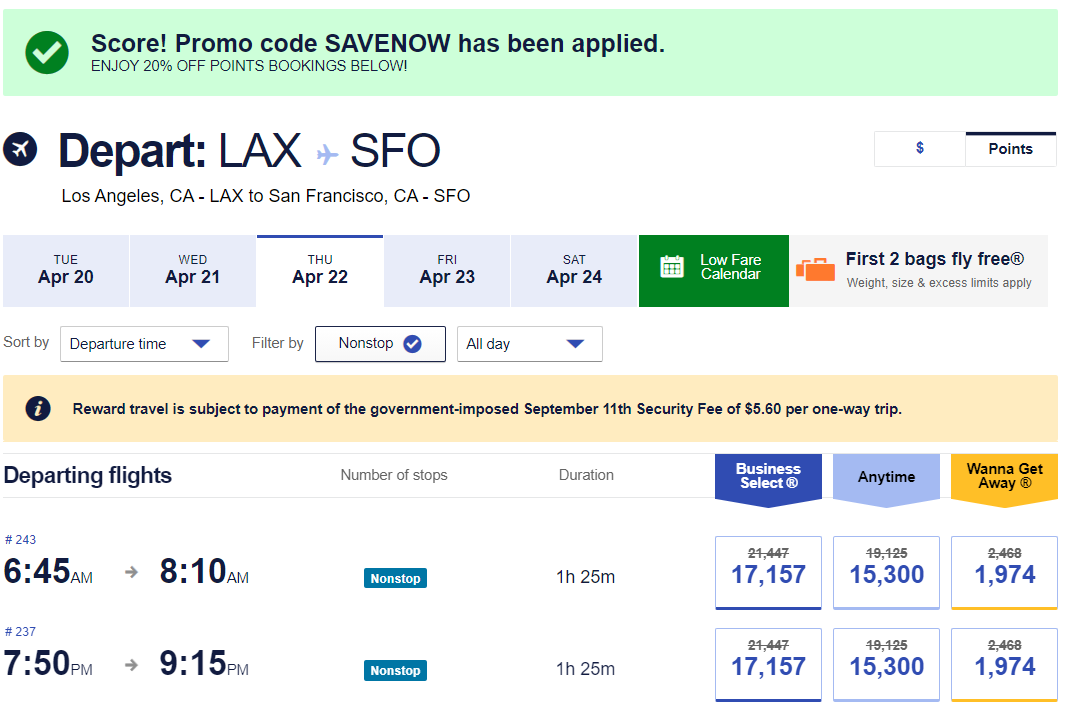 Flights from Los Angeles to San Francisco with the Southwest promo code SAVENOW applied