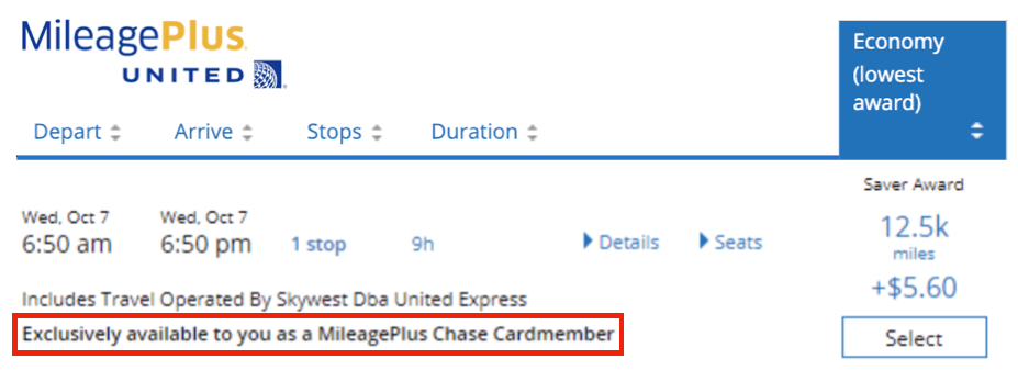 Chase united card award availability