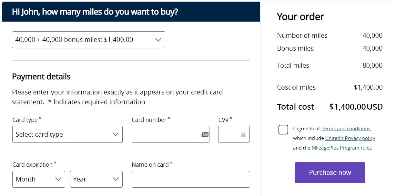Buy United miles with a 100% bonus