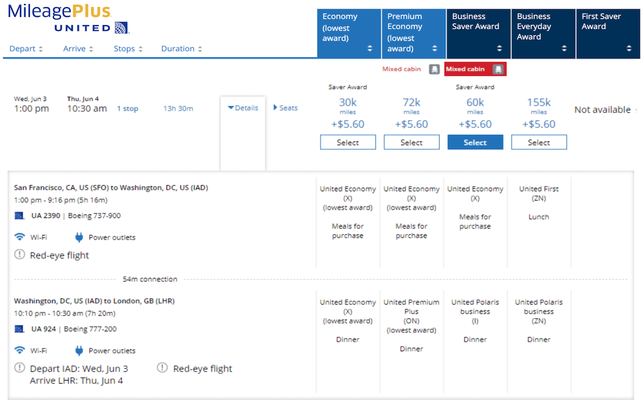 best ways to use United MileagePlus - mixed cabin awards