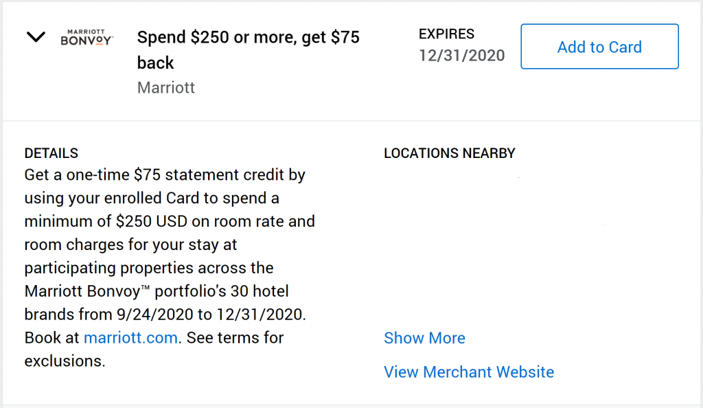 Amex Offers spend $250+ get $75 cashback
