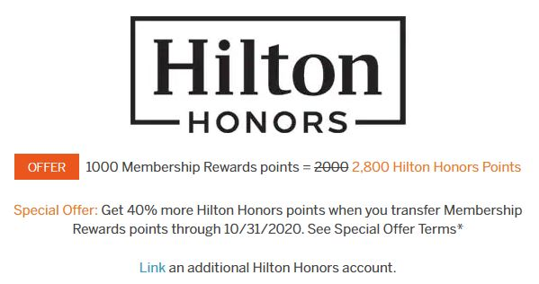 An example of the regular transfer bonuses we see from Membership Rewards to Hilton Honors
