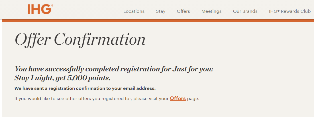 Targeted IHG Promotion for 5,000 bonus points for one stay