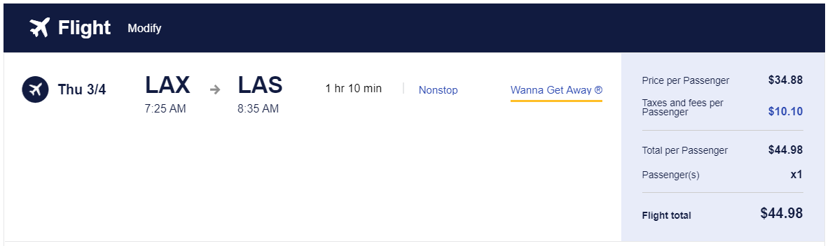 Southwest flight from LAX to LAS for $45
