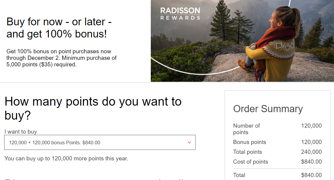 Radisson buy points promotion
