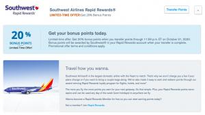 20% transfer bonus from Chase Ultimate Rewards to Southwest Rapid Rewards