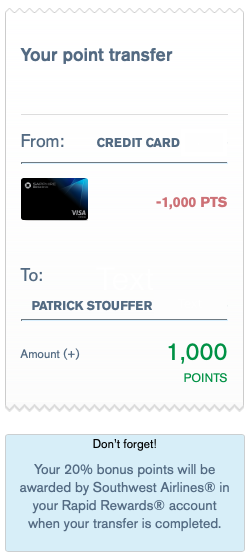 Transferring Chase Ultimate Rewards points to Southwest Rapid Rewards