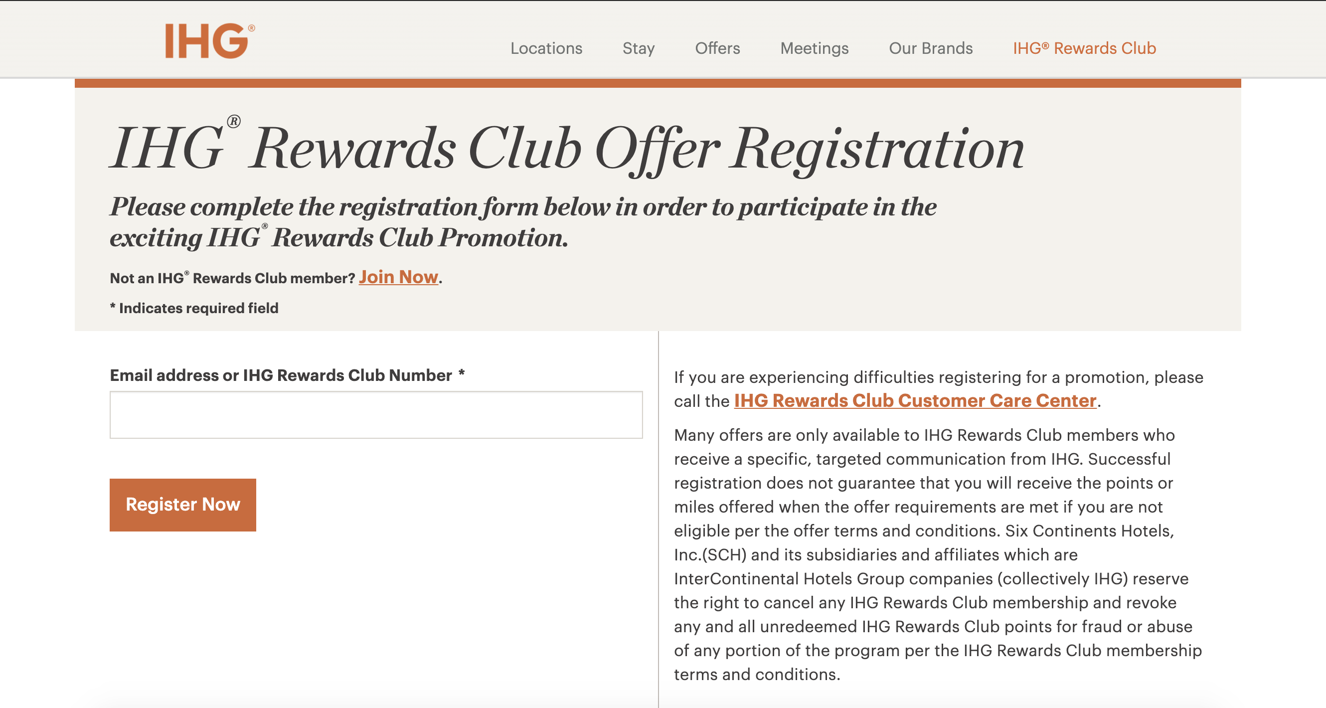 register for IHG rewards offers