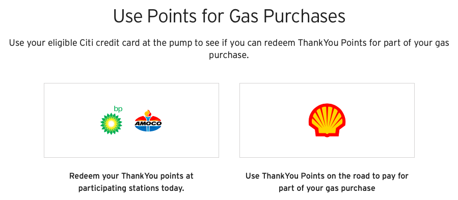 Use Citi ThankYou Points for gas purchases through Shop With Points