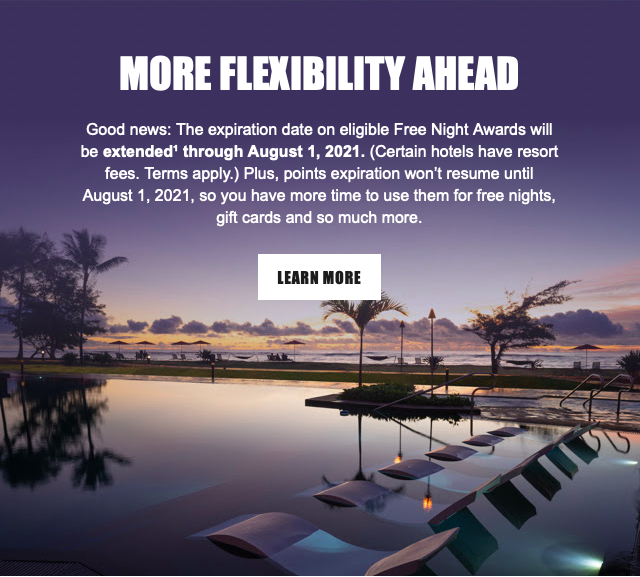 Marriott extends free night awards and points expiration pause