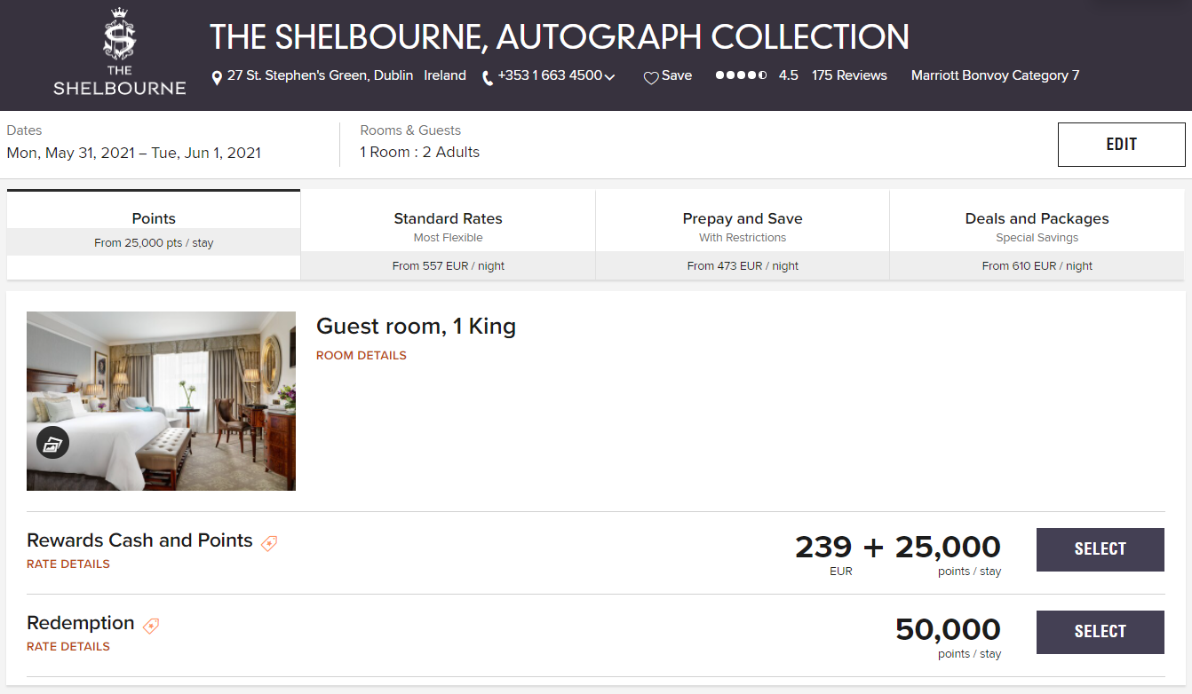 Book The Shelbourne haunted hotel for 50,000 Marriott points per night