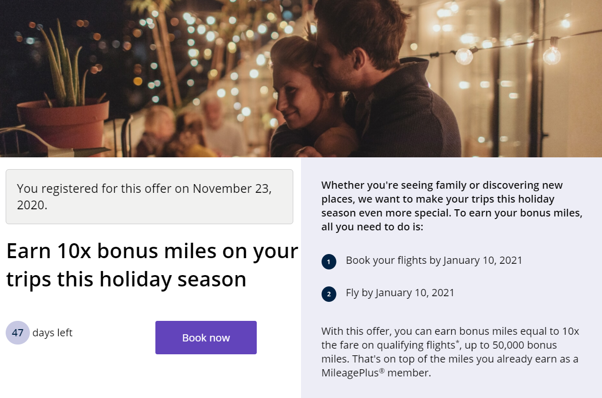 10X bonus miles when flying United