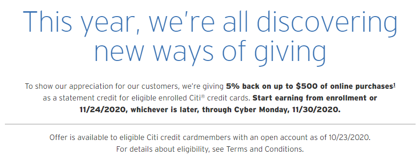 Citi extra 5% cash back offer email