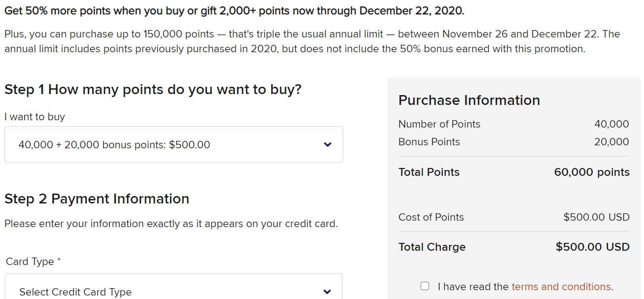 buy 60k Marriott points for $500